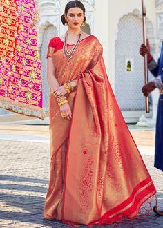 #red #woven #kanjivaram #silk #saree #blouse #attractive #design #sareelove #new #arrivals #beautiful #indianwear #ootd #traditional #womenswear #online #shopping Kanjivaram Sarees, Art Silk Sarees, Red Fabric, Silk Fabric, Handloom Weaving, Nauvari Saree, Latest Sarees, Bollywood Saree, Paisley Design