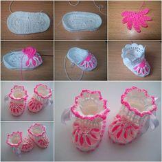 How to DIY Pretty Crochet Flower Baby Booties   iCreativeIdeas.com Like Us on Facebook ==> https://www.facebook.com/icreativeideas