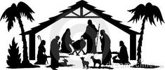 Illustration of a nativity scene in silhouette...eps file available with figures separate and editable