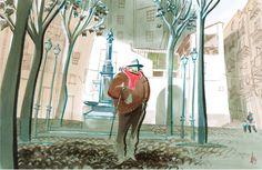 «Plaça de l'Ereta», Alfons López, darrer quart del segle xx. Aquarel·la sobre paper, 37,5 x 58 cm. MAMLL - 1890   © Alfons López