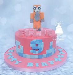 Girly minecraft cake. Creeper. 9th birthday. Pink.