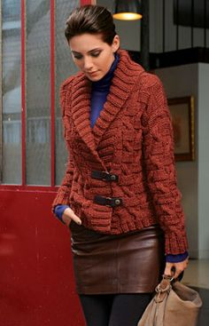 Bergere de France Short Jacket Pattern. More cables, but I love this, too!