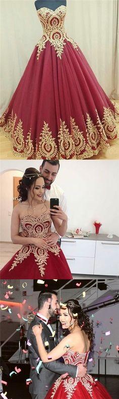 Burgundy Prom Dresses Sweetheart Appliques Floor-length Prom Dress/Evening Dress