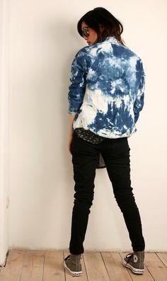 DIY Dark Denim Grunge Jacket #bleach #jeans #bleachjeans