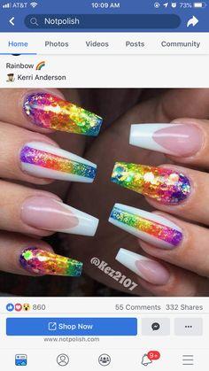 nails rainbow glitter \ nails rainbow + nails rainbow pastel + nails rainbow acrylic + nails rainbow tips + nails rainbow ombre + nails rainbow glitter + nails rainbow french + nails rainbow design Ongles Bling Bling, Bling Nails, Glitter Nails, Bling Nail Art, Best Acrylic Nails, Acrylic Nail Designs, Rainbow Nail Art Designs, Hair And Nails, My Nails