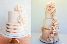 Wedding Cakes Copper and blush wedding cake by Erica O Brien left, rose gold wedding cake right by Cakesalouisa Pretty Cakes, Beautiful Cakes, Rose Gold Metallic, Copper Blush, Trendy Wedding, Dream Wedding, 2017 Wedding, Floral Wedding, Perfect Wedding