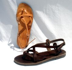 ANANIAS leather sandals handmade in Greece in brown, black or natural leather (the natural color will change with age to a beautiful golden brown