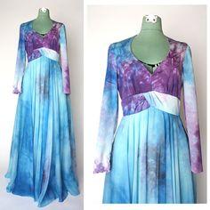 1960s Long Tie Dye Dress