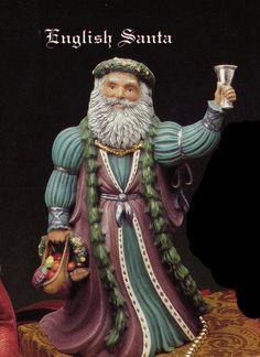 Old World  English Santa  Collectible ceramic bisque Tec sheet for painting available app 10""