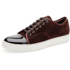 4bc99016bccd Lanvin Suede   Patent Leather Low-Top Sneaker ( 495) ❤ liked on Polyvore  featuring shoes