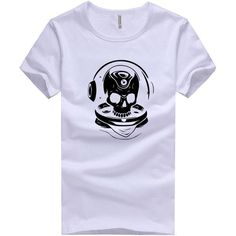 1e87a04989dea9 Men s Short Sleeve T-Shirt Made Of Cotton And Polyester Clothes Print Skulls  Listening To