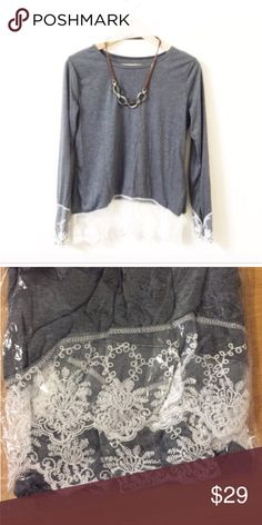 """Grey lace top Super chic.Super cute and quality. Lace decorations the bottom and sleeves-2. Size XL (Asian XXL), same to other size. US S (Asian M) , US M-Asian L. US L-Asian XLStretchable. Tw. Five  . (NWOT-new without tag) Bust, US XL is around 38 -39 inches. Size uS L bust: 36-38 inches. Size US M: bust 35-37"""", size US S bust: 34-36"""" Us xs: 33-35"""". The size on the top is Asian Size Tops"""