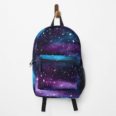 """""""Starry Sky Galaxy"""" Backpack by HavenDesign   Redbubble Galaxy Backpack, Galaxy Print, Purple, Blue, Traveling By Yourself, Print Design, Just For You, Gym Stuff, Sky"""