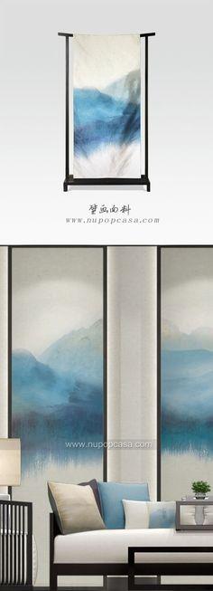 水墨艺术壁画面料--酒店室内设计应用:隔断、沙发背景、床背景、玄关、窗帘、屏风: