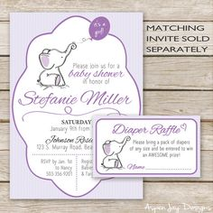 Printable Purple Elephant Baby Shower Diaper Raffle Tickets  ♥ Diaper Raffle Tickets Stock the new mama-to-be with diapers by throwing a diaper raffle! You can insert the tickets with the invitations to encourage guests to bring a pack of diapers and put up the diaper raffle sign at the baby shower to let guests know where to leave the diapers. W H A T ⋆ Y O U ' L L ⋆ R E C E I V E ________________________________________________ 2 PDF files: - Diaper Raffle tickets - each ticket is 3.5x2…
