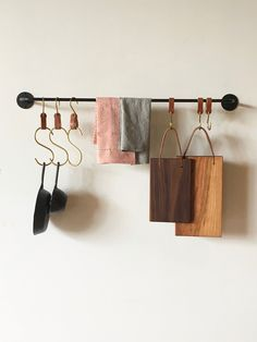 "Lostine - Ellington Iron Pot Rack 36 "" with Carter and Ludow Brass Hooks and Fairmount Cutting Boards ."