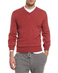 Cashmere V-Neck Pullover Sweater, Red, Women's, Size: 56 - Brunello Cucinelli