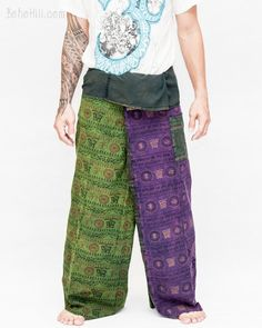 Women's Thai Fisherman Pants Wrap Around Fold Over Waist Yoga Trousers – BohoHill Long Sew In, Thai Fisherman Pants, Yoga Trousers, Hippie Pants, Ideal Fit, Drop Crotch, Small Waist, Ethnic Fashion, Workout Wear