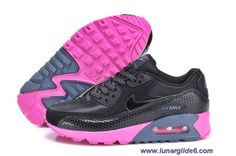 Womens Nike Air Max 90 Black Black Dark Armory Blue Pink Flash Shoes Sale