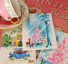 vintage christmas cards    DIY Idea: punch holes and add ribbon for homemade ornaments Diy Christmas Cards, Noel Christmas, Pink Christmas Tree, Shabby Chic Christmas, Retro Christmas, Vintage Holiday, Christmas Images, Christmas Decorations, Turquoise Christmas