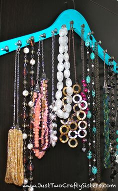 Hanger Necklace Rack DIY by Just Two Crafty Sisters