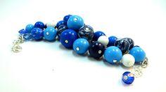 Blue bracelet Multicolor bracelet Colored от JewelryPollysWorld