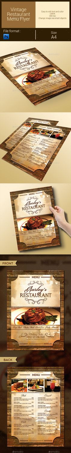 Vintage Restaurant Menu Flyer Template #design Download: http://graphicriver.net/item/vintage-restaurant-menu-flyer/9575758?ref=ksioks