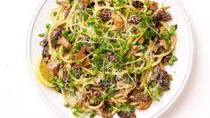Bucatini with Peas, Wild Mushrooms, and Creamy Tarragon Sauce - Recipe - FineCooking