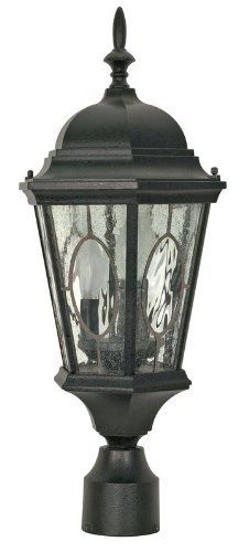 Nuvo 60/799 Textured Post Lantern with Clear Water and Seed Glass Leaded Panels, Textured Black by Nuvo. $93.00. Textured black post lantern with clear water and seed glass leaded panels. (3) 40-Watt type B candelabra base bulbs not included.