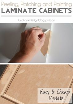 Peeling, Patching and Painting Laminate Kitchen Cabinets - Easy and Cheap update The old white laminate started to peel on my cabinets. I peeled it all of and this is a tutorial about peeling and painting laminate kitchen cabinets.