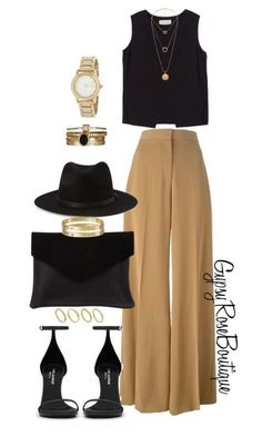 The high waisted beige pants are a must. The short black blouse definitely makes the look pull together with the hat which is black the purse which is black and the high heels which is black.