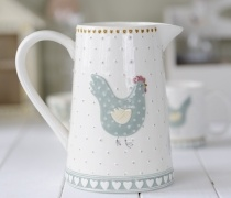Bring a country kitchen look to your table this Easter with our ceramic hen jug. A simple hand painted pastel green embossed hen surrounded by small raised polka dots stands proudly on its side. It has thick sides and a sturdy handle and is perfectly sized to be used as a water jug for any meal.  http://www.pasttimes.com/gift_finder/by_occasion/easter_gifts/large_ceramic_hen_jug-870063.htm