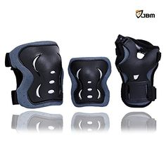 JBM Children Cycling Roller Skating Knee Elbow Wrist Protective Pads--Black / Adjustable Size, Suitable for Skateboard, Biking, Mini Bike Riding and Other Extreme Sports (Blue