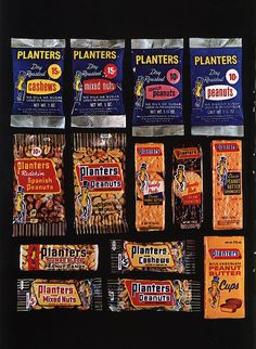 The left-half of a double-page spread ad, featuring the Planters snack line-up for that year. Old Candy, Old Fashioned Candy, Vintage Candy, Retro Ads, Mixed Nuts, Up Game, Candy Recipes, Summer Of Love
