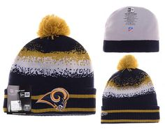 67fd6e04e Mens   Womens St. Louis Rams New Era NFL On-Field Team Colors Fashion Spec  Blend Knit Beanie Hat With Pom - Navy   Gold