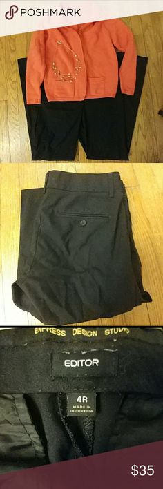"""Express Design Studio """"Editor"""" Trousers Express Design Studio """"Editor"""" Trousers.  Fit straight through hip & thigh.  Black.  Size 4R.  In excellent used condition (no rips or stains; however, the hems may need to be """"re-tacked"""".) Express Pants Trousers"""