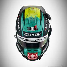 Porsche 911 RSR Livery Design on Behance Dirt Bike Helmets, Motorcycle Helmet Design, Biker Helmets, Racing Helmets, Motorcycle Gear, Sports Helmet, Football Helmets, Porsche 911 Rsr, Helmet Paint
