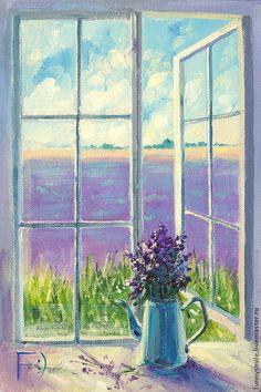 Купить Картина маслом на холсте. Безмятежность лавандового утра. - окно, окошко, цветы, картина с цветами