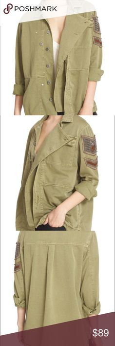 FREE PEOPLE Military Shirt Jacket NWT! Perfectly on trend with pretty beaded detail on the left sleeve. Could be worn as a shirt or jacket. Free People Jackets & Coats