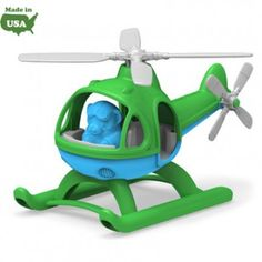 Let your little one's imagination take flight with the NEW Helicopter from Green Toys! This eco-friendly chopper is made in the USA from 100% recycled plastic milk jugs to save energy and reduce greenhouse gas emissions.