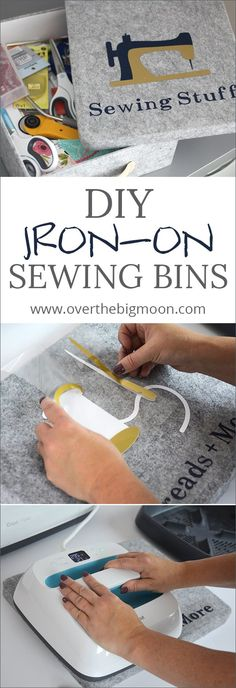 DIY Iron-On Sewing Bins - Love these Fabric Bins for organizing! You could customize them for anything and this tutorial for custom iron-ons is awesome! From www.overthebigmoon.com! #ad #CricutMade #CricutMaker