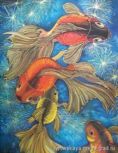 Золотые рыбки - батик, картины с изображением животных. МегаГрад - главный ресурс мастеров и художников