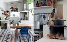 Na decoração de Flavia Machado para a cobertura duplex do empresário Rodolfo Vilar, peças rústicas aumentam o charme da cozinha. Um legítimo fogão à lenha foi instalado no espaço (sem dispensar a coifa moderna)