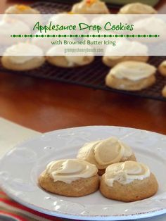 Applesauce Drop Cookies with Browned Butter Icing - a slilghtly spiced soft cookie with nutty browned butter icing