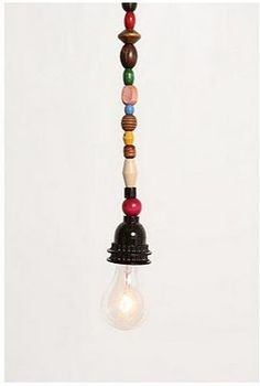 beaded light cord- thinking of redoing with copper tubing, plumbing parts, odd bits, or stacks of brass rings, washers. Diy Projects To Try, Craft Projects, Cute Home Decor, Blog Deco, Decoration, Lamp Light, Home Accessories, Diy And Crafts, Recycling