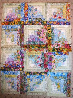 Quilting Ideas Watercolor Floral Log Cabin Quilt - country quilts - For the more traditional types, country quilts are the best to bring that homey, rustic feel to a room or furniture. Log Cabin Quilts, Édredons Cabin Log, Log Cabin Quilt Pattern, Quilt Block Patterns, Log Cabins, Log Cabin Patchwork, Rustic Cabins, Crazy Quilting, Patchwork Quilting
