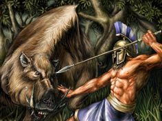 Erymanthian boar- Greek myth: area that turned into a giant boar to attack and kill Adonis out of jealousy.