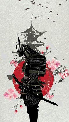 Japanese Art Prints, Japanese Artwork, Japanese Tattoo Art, Japanese Wallpaper Iphone, Ps Wallpaper, Japanese Art Samurai, Japanese Warrior, Samurai Drawing, Samurai Artwork