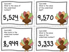Place value to the thousands place!  Enjoy a fast paced game of SCOOT while your kids are engaged in identifying place value!  Task cards come in color and black/white!