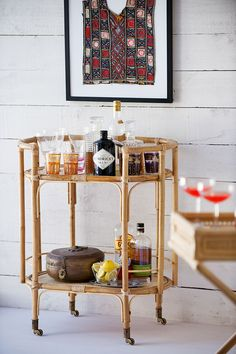 when i become an alcoholic i'm so making a bar cart from old cane furniture! Bar Cart Styling, Bar Cart Decor, Gold Bar Cart, Cane Furniture, Rattan Furniture, Furniture Ideas, Furniture Movers, Furniture Design, Metal Tree Wall Art